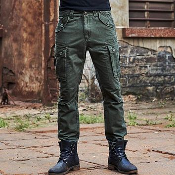 Men Cargo Pants Loose Multi Pockets Army Pants