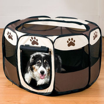 Best Selling Pet Fence Dog Kennel Puppy Soft Playpen Exercise Pen Folding Pet Cage Dog Supplies Pet Products Coffee HT0008 Salebags