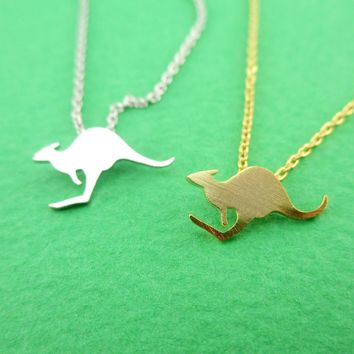 Classic Kangaroo Silhouette Shaped Pendant Necklace in Silver or Gold