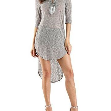 Amzmem Womens Sexy V Neck 34 Cute Sleeve High Low Hem Skate Tunic Dresses