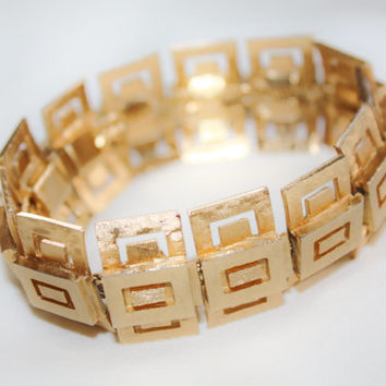 Vintage Napier Greek Key Bracelet, Wide Gold Tone Bracelet, 1970s Jewelry