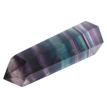 New Fashion 100g Natural Green Purple Fluorite Quartz Crystal Wand Point Healing Home Table Stone Decor Ornament