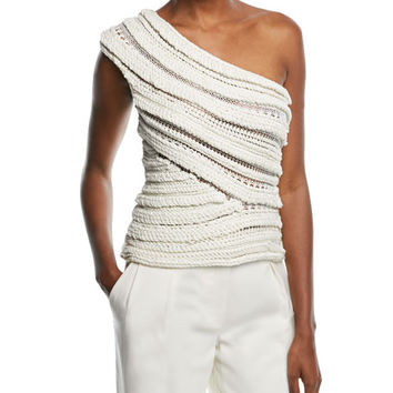 Narciso Rodriguez One-Shoulder Textured Knit Top