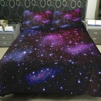 Anlye Galaxy Bedding 1 Galaxy Duvet Cover 1 Galaxy Flat Sheet 2 Pillowcase Satin(not Cotton) Queen