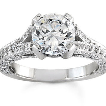 Ladies platinum vintage pave diamond engagement ring with 1.50ct natural Round White Sapphire
