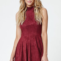 LA Hearts Faux Suede Goddess Neck Fit and Flare Dress at PacSun.com