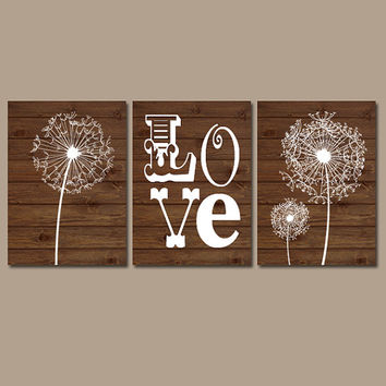DANDELION Wall Art Girl Nursery Canvas LOVE Child Flower Wood Grain Custom Colors Set of 3 Baby Room Shower Gift Artwork