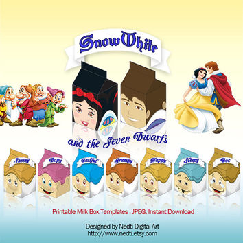 Printable Milk Box Template, Snow White and the seven dwarfs, Disney Party Supplies, Instant Download, JPEG, A4