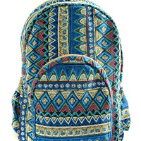 Blue Retro Totem Printed Backpack
