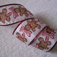 Christmas Ribbon, Gingerbread Cookie, 2 1/2 In Wide,Wired Edge, 4 YARDS