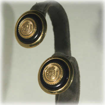 Liz Claiborne, Crest Earrings, Gold Black Earrings, Round Earrings, Pierced Earrings