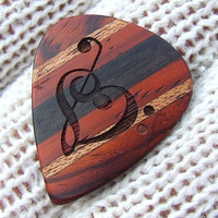 Custom Laser Engraved Guitar Pick - Handmade With Exotic Woods