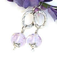 Lavender Blue Lampwork Earrings, Rustic Sterling Ovals Handmade Jewelry