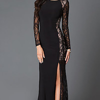 Black Long Sleeve Floor Length Lace Prom Dress