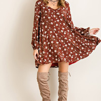 Fall Boho Dress - Burgundy