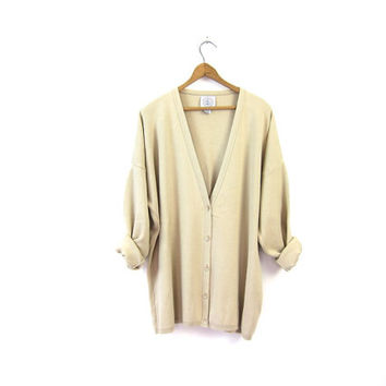 Oversized Beige Cardigan Slouchy Cotton Sweater Minimal Button Up Knit Shirt Preppy Buff Slouchy Cardigan Womens 90s Basic Vintage XL