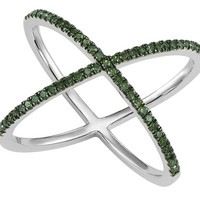 Sterling silver 1/4cttw split style green diamond ring