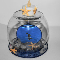 AT THE BEACH..Seagull  Centerpiece..Beachy Table Topper with led  tealight......Nature Under Glass