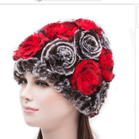 New Winter Floral Hat Women Wool Rose Bucket Cloche 3 Beret Colors Gothic