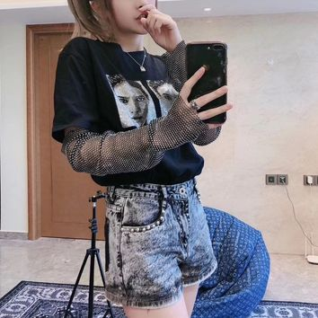 """""""Alexander Wang"""" Woman Casual Diamond Fashion Letter Printing Loose Large Size Short Sleeve Set Two-piece T-Shirt Tops"""