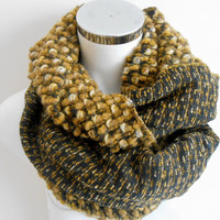 Knitted Men Scarves, Mustard Brown Scarf, Unisex Scarf, Wool Scarves, Men's Scarves, Double Sided Scarf, Checkered Scarf, Winter Accessories