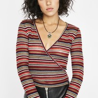 Come Over Striped Wrap Top