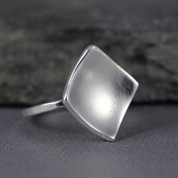 Diamond Ring, Minimalist jewelry, diamond shape, Recycled sterling silver, repurposed silver, statement ring, geometric jewelry