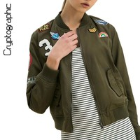 Fashion cool basic bomber jacket 2017 autumn army green women jackets coat badge patch designs casual zipper outerwear clothing