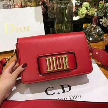 DIOR High Quality Classic Fashion Women Shopping Bag Leather Shoulder Bag Crossbody Satchel Red