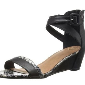 ONETOW Madeline Matty Black Snake Wedge Sandal