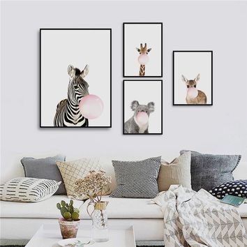 Nordic Cute Blowing Bubbles Animal Zebra Giraffe Canvas Art Print Wall Painting/Poster/Pictures for Children's Room Bedroom Livi