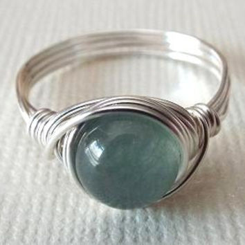 Green Jade Ring, Wire Wrapped Ring, Gift for Best Friend, Christmas Gift Idea, Simple Ring, Jade Ring, Homemade Jewelry, Pretty Jade Ring