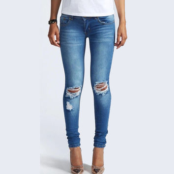 2016 New Fashion Women Low Waist Stretch Skinny Ripped Jeans Knees Broken Slim Pencil Pants Full Length Dark Blue CLP004