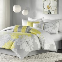 Madison Park Lola Comforter Set, Queen, Grey/Yellow
