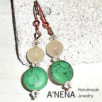 "Earrings    "" Faithful""   Pink Rose Quartz and Green Howlite and A'Nena's own  Copper fishing hook"