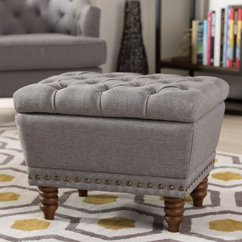 Baxton Studio Annabelle Modern and Contemporary Light Grey Fabric Upholstered Walnut Wood Finished Button-Tufted Storage Ottoman Set of 1