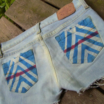 British Tie Dyed Unraveled Jean Shorts (3050)