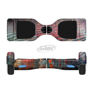The Grungy Orange and Teal Dyed Wood Surface Full Body Skin Set for the Smart Drifting SuperCharged Transportation iiRov