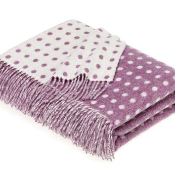 Merino Lambswool Spot Lilac Throw Blanket