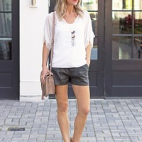 Chic Shorts- Level 99 Relaxed Linen Trouser Short-$88.00 | Hand In Pocket Boutique
