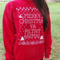 Ugly Christmas Sweater Merry CHRISTMAS YA FILTHY Animal Home alone sweater  funny movie xmas ugly contest party humorous - Womens Unisex