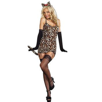 ESBONG Games Club Sexy Leopard Costume Anime Halloween Uniform [8978892231]