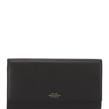 Panama Marshall Travel Wallet, Black - Smythson