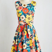 Mid-length Sleeveless A-line Hour by Flower Dress in Retro Floral