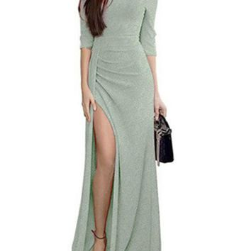 New Green Slit Off Shoulder 3/4 Sleeve Elegant Maxi Dress