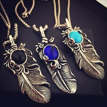 New Arrival Jewelry Stylish Shiny Gift Hip-hop Club Feather Necklace [8439440899]