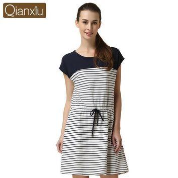 CREYHY3 2016 Special Offer Sale Sashes Striped Gecelik Qianxiu Brand Lingerie Girl Sexy Sleepshirts Cotton Nightgown Kintted Underwear
