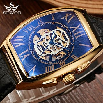 Affordable Luxury - with Style.  By: SEWOR Brand Gold Pirate Skull-Steampunk Men Wristwatch