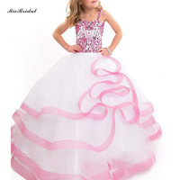 New High Quality Kids Beauty Pageant Dresses Beaded Blue Ball Gown Puffy Flower Girls Pageant Dresses Kids Prom Gowns