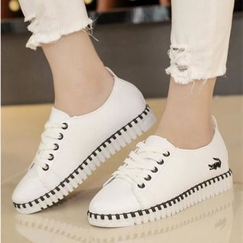 All-match Fashion Embroidery Multicolor Straps Sports Shoes Thick Bottom Small White Shoes